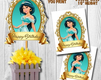 Princess Jasmine Centerpiece, Jasmine Centerpiece, Princess Jasmine Cake Topper, Double-Sided, Digital File, You Print