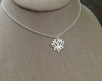 Lotus flower pendant necklace in sterling silver, sterling silver lotus, silver necklace, lotus necklace, mother's day
