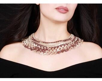 Beaded Fan Necklace, Biser Statement Necklace, Statement Jewelry, Fan Necklace, Beaded Jewelry, Statement Necklace, Armenian Jewelry