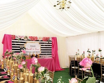 Custom Sweet 16 Stripe Flower Kate Spade Inspired Banner Pink Gold Black Background Event Photo Booth (Multiple Sizes & Materials Available)