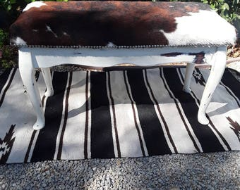 Made to order** Custom cowhide shabby chic white piano bench
