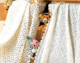 ROBIN 13516 Vintage Baby Shawl Knitting/Crochet Pattern Instant Download