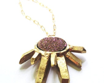 Druzy Crystal Cluster Necklace