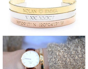 Engraved Coordinates Bracelet - Custom Jewelry - Gold - Rose Gold - Sterling Silver Engraved Bracelet - Custom Coordinates- Custom Location