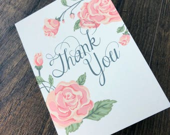 """3.5x7"""" Printable Coral Roses Wedding Thank You Cards"""