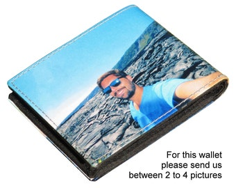 SMALL custom wallet for men with pictures from you - FREE SHIPPING - customized wallet initials personal printed name photos birthday gift