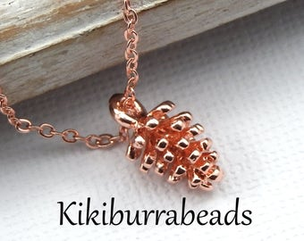 Rose Gold Pine Cone Necklace,Nature Jewelry,Pine Cone Necklace,Dainty Charm Necklace