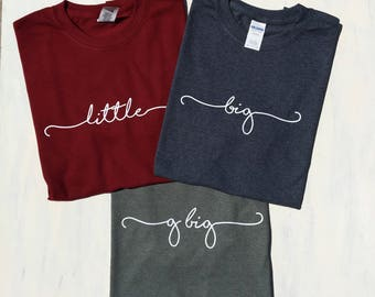Big Little Handwriting Script Round Neck Tees - Big Little Reveal T Shirts - G Big Gifts