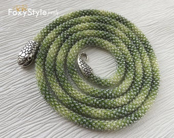 Layering Necklace Birthday Gift Green Jewelry Gift Idea Beaded Jewelry Women Gift Crochet Jewelry Bib Jewelry Yoga Jewelry Delicate Necklace