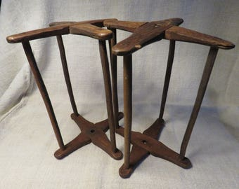 Two hand hewn, pegged, primitive, antique yarn winders