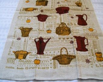 Vintage Linen Towel by Lois Long, Baskets, Apples, Pots, Garden Plants Names, Retro Kitchen Textile