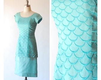 vintage 1950s turquoise blue mermaid dress /  size medium m