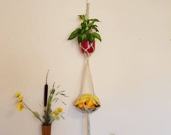 Double plant hanger Hanging fruit basket Hanging basket Fruit bowl Plant decor Balcony decor Plant holder, gift idea, indoor plant hanger
