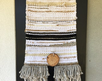 Nuetral white and black large woven wall hanging