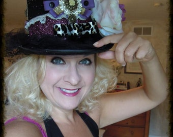 HEARTBREAKER, Custom made Black Tophat, with Embellishments, for Weddings, Bachelorette, Girls Night, Concerts, Parties, Holidays