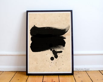 Black brush stroke print, minimalist art,Printable instant download, abstract brush art print,abstract wall art, minimalist art,modern decor