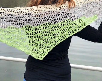Spring Waves Shawl, Crochet Shawl, Triangle Scarf, Openwork, Procella Shawl, Handmade Mother's Day Gift - Ready to Ship