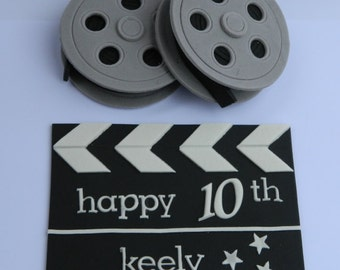 3 pce edible 3d personalised movie CLAPPER & FILM REELS kit cake decoration topper hollywood star cinema wedding birthday
