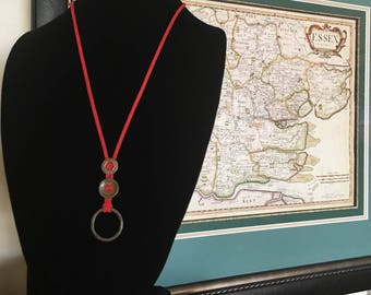 Medieval Harness Ring & Antique Tailor's Button Necklace