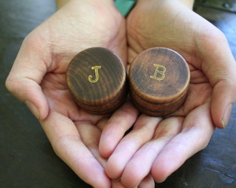 Personalized wedding ring box set, wood ring boxes, ring bearer, ring warming, pair of pine ring  boxes with initials in gold, hand stamped