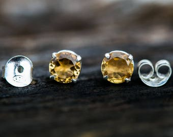 Citrine 8mm Stud Earrings - Citrine and Sterling Silver 8mm stud earrings - 8mm Stud Earrings - Sterling Silver Stud Earrings - Citrine Stud