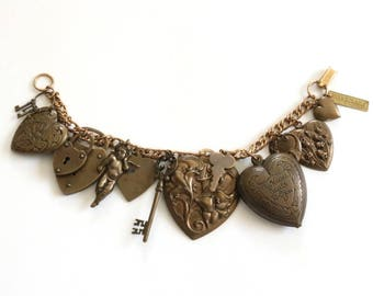 Vintage Charm Bracelet . art nouveau jewelry bracelet . statement bracelet . key to my heart bracelet . jan michaels jewelry bracelet