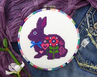 Easter Bunny Cross Stitch Pattern PDF, DIY Easter Pattern, Cross Stitch Animals, Bunny Rabbit, Hare Cross Stitch, Easter Bunny Pattern