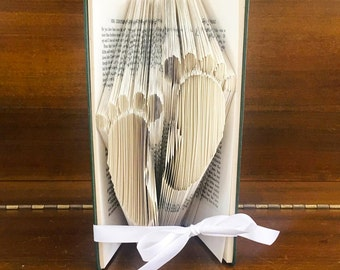 Folded Book Art - Baby Feet - Small steps - baby steps