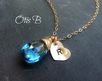 Custom Birthstone & Initial Necklace, PERSONALIZED BIRTHSTONE NECKLACE, blue topaz necklace, Bridesmaid Gifts, bridesmaid jewelry