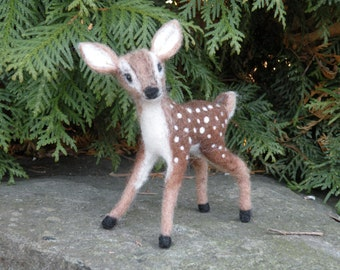 Felted carded wool - Wool felted fawn Fawn