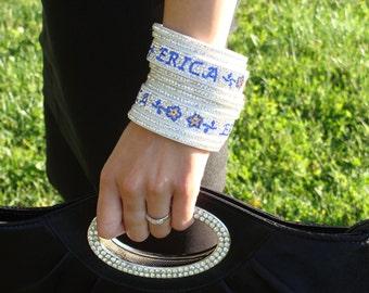 2 Names Personalized Bangle Set Bracelet Wedding jewelry Bridal bracelet blue