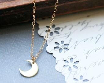 Crescent Moon Necklace Celestial Pendant Gold Crescent Moon Necklace Copper Moon Silver Moon
