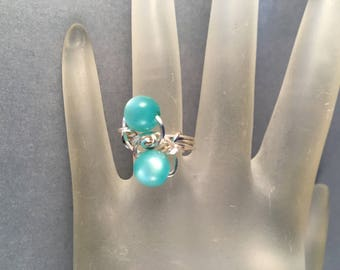 Silver and Turquoise Wire Wrapped Ring, One of a Kind, Ring Size 5.25, Previously Fifteen Dollars ON SALE