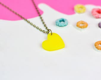 Yellow Heart Necklace for Valentines Day   Valentines Gifts For Her   Sunshine Jewellery for Sensitive Skin