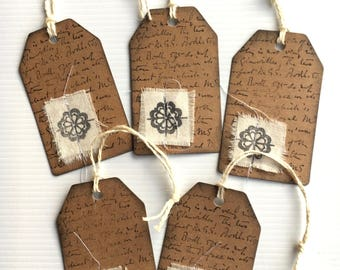 5 Kraft Handmade Tags ... Great for Junk Journals & Scrapbooking