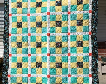 Yellow Aqua and Black 9-patch Crib Quilt