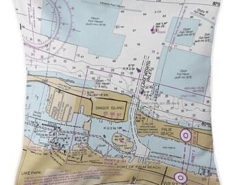 FL: Lake Worth Inlet, Singer Island, FL Nautical Chart Pillow, Nautical Pillow, Map Pillow, Coastal Pillow