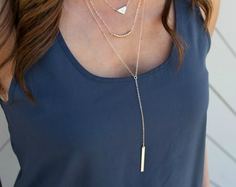 Skinny Bar Lariat Necklace, Lariat Bar Necklace, Gold Bar Lariat, Lariat Necklace,Personalized Bar, Gift for Her/Wife, LEILAJewelryshop,N265