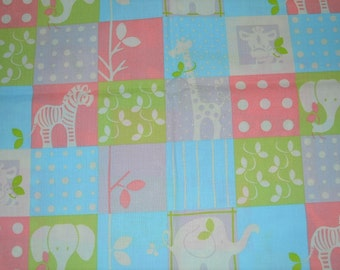 Pastel Baby Themed Fabric with Elephants Zebras Giraffes (by the yard)  RARE!