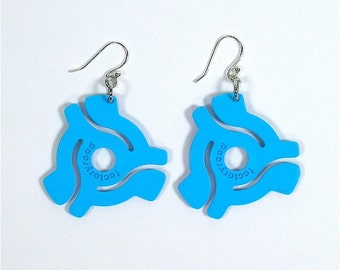 Sky Blue 45 rpm Vinyl Record Adapter Earrings Recycled Symbol for Music Enthusiast Adaptor