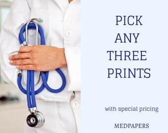 Three Medical Anatomy Prints of your Choice