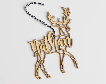 Modern Geometric Stag Deer Antlers Animal Christmas Ornament Gift Stocking Tag – Personalized
