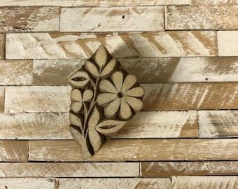 Vintage Wood Printing Block Stamp Made in India Floral/Flower Design (#44)