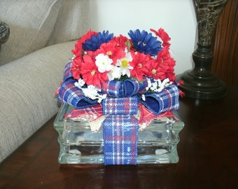 Patriotic Centerpiece, Holiday Decor, Lighted Glass Block, 4th of July, Red White & Blue Decor, Americana decor, Table Decor, Independence,