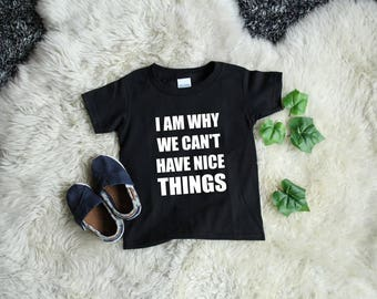 I Am Why We Can't Have Nice Things Toddler Shirt