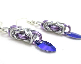 Lilac, Purple and Silver Byzantine Chainmaille Earrings - Ready to Ship