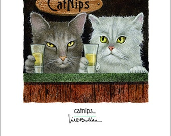 Will Bullas / art print / catnips... / humor / animals / cats
