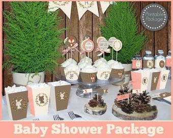 Girl Woodland Baby Shower Printable MEGA SET, Woodland Baby Shower  Decorations, Animal Baby Shower