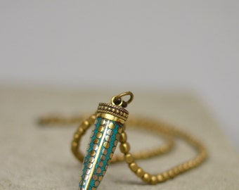 Tibetan Green Tusk Turquoise pendant and gold brass bead Necklace