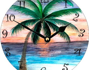 Sunset Palm Tree wall clock from my art